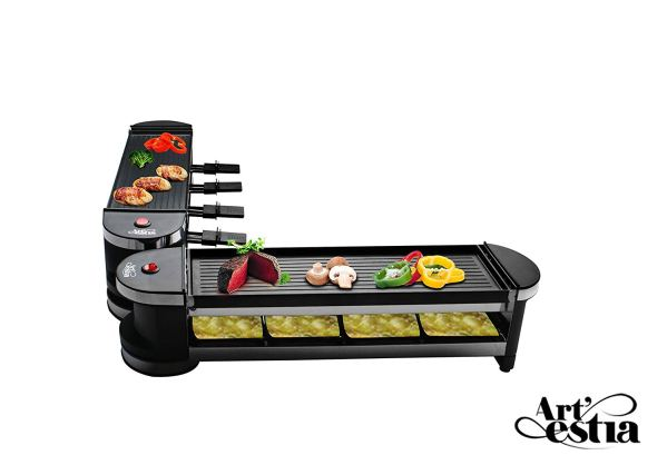 Artestia Electric Dual Raclette Grill with Cast Aluminum Reversible Grill Plate, Easy Setup in 360° Rotation, Serve the whole family (Reversible Aluminum Grill Plate)2
