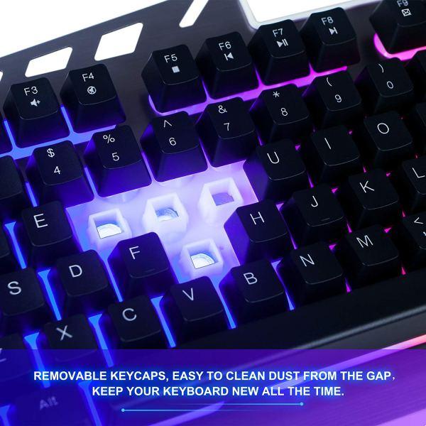 FLAGPOWER Gaming Keyboard Mouse Combo LED Backlit Mechanical Feeling Bundle Set Metal Aluminum-Alloy Phone Holder Computer PC Games Office(New Version)4