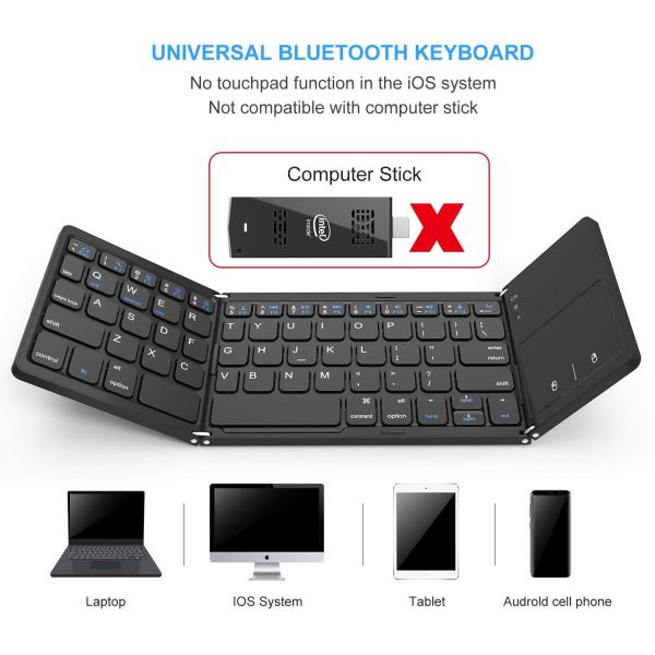 Foldable Bluetooth Keyboard, Vive Comb Dual Mode Bluetooth & USB Wired Rechargable Portable Mini BT Wireless Keyboard with Touchpad Mouse for Android, Windows, PC, Tablet-Black2