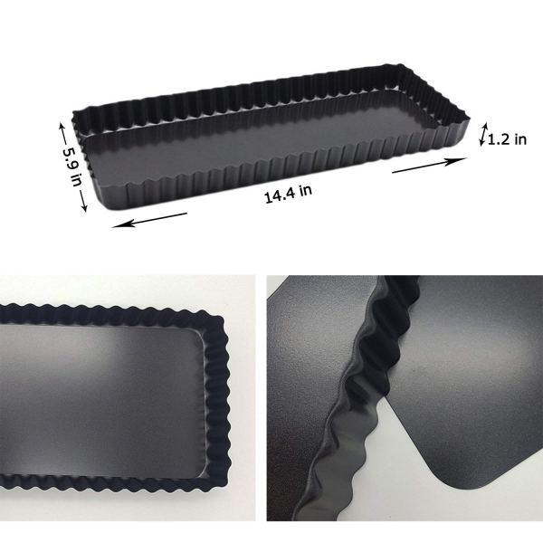 Formas retangular de torta com borda canelada fundo removível 6