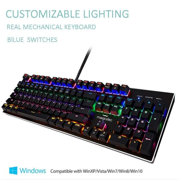 Mechanical Gaming Keyboard-Backlit Wired Gaming Keyboard-104 Keys with Preset and Customizable Lighting Effects for PC and Mac Gamers-Pro Gamers2