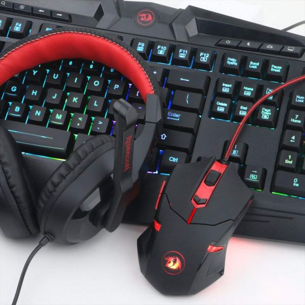 Redragon S101-BA Gaming Mouse, Keyboard, Headset with Microphone Mouse Pad Combo, RGB LED Backlit 104 Keys USB Wired Ergonomic2