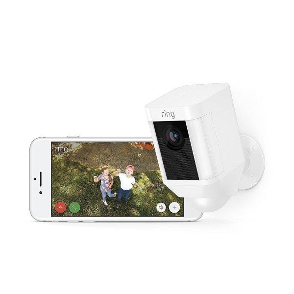 Câmara de Segurança Ring Spotlight Cam com Bateria HD com Conversação Bidireccional Integrada e Alarme Sirene, Branco, Funciona com o Alexa3
