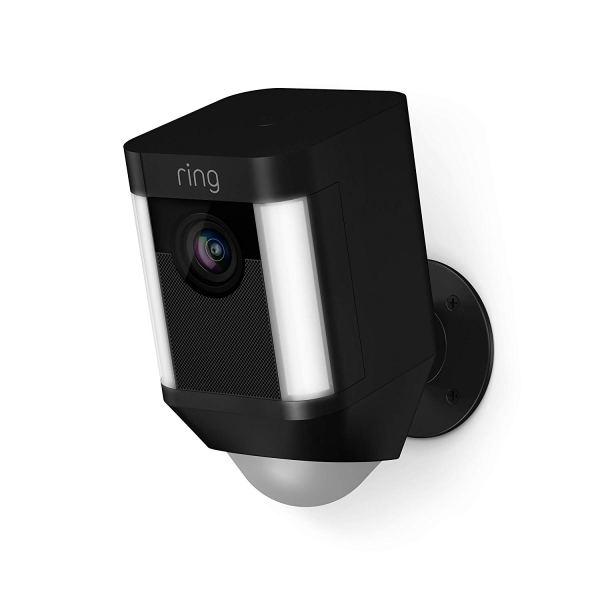 Câmara de Segurança Ring Spotlight Cam com Bateria HD com Conversação Bidireccional Integrada e Alarme Sirene, Preto, Funciona com o Alexa