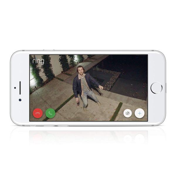 Câmara de Segurança Ring Spotlight Cam com Bateria HD com Conversação Bidireccional Integrada e Alarme Sirene, Preto, Funciona com o Alexa5