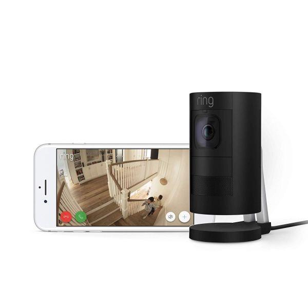 Nova câmera de segurança com cabo de segurança com conversa em dois sentidos, visão nocturna e sirene, preto, funciona com o Alexa4