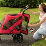 Pet Gear NO-Zip Stroller, Push Button Zipperless Dual Entry, for Single 3
