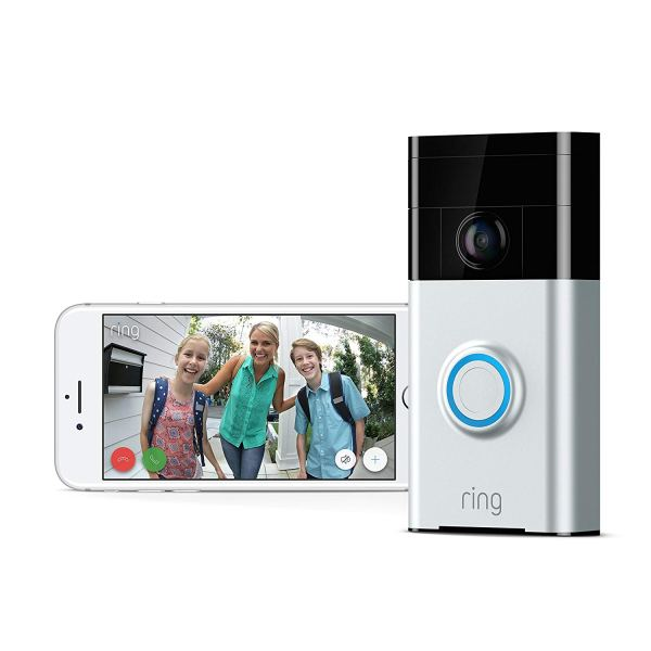 Ring Wi-Fi Enabled Video Doorbell in Satin Nickel, Works with Alexa3