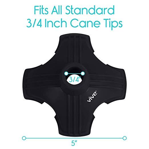 Cane Tip by Vive – Almofada de pé de substituição de borracha de quadrilátero para 4