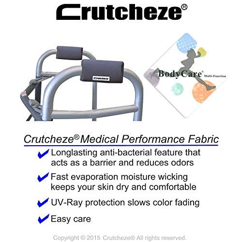 Crutcheze Carbon Grey Walker Padded Hand Grip Covers Made in USA Moisture Wicking, Antibacterial, Comfort, Fashion, Washable Orthopedic Products Accessories 3