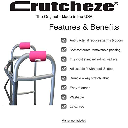 Crutcheze Hot Pink Walker Padded Hand Grip Covers Made in USA Moisture Wicking, Antibacterial, Comfort, Fashion, Washable Orthopedic Products Accessories 2
