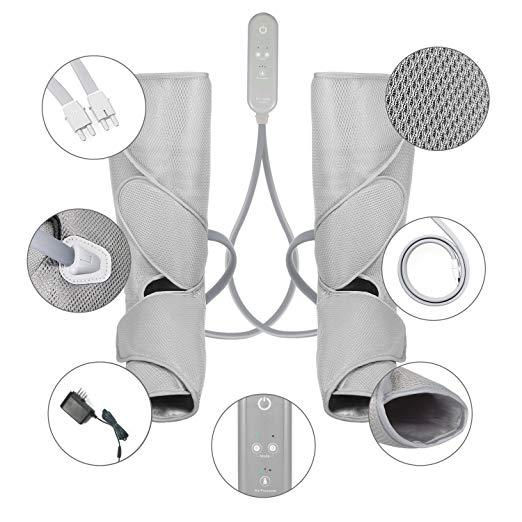 FIT KING Massageador Perna de Compressão de Ar para Circulação de Pés e Bezerras Massagem com Controlador de Mão 2 Modos 3 Intensidades (com 2 Extensões) 5