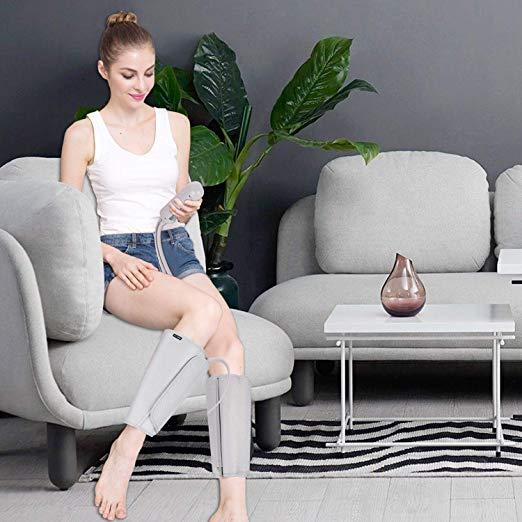 FIT REI Leg Air Massageador para Massagem Circulação Compressão Sequencial Wraps com Controlador de Mão 2 Modos 3 Intensidades 4