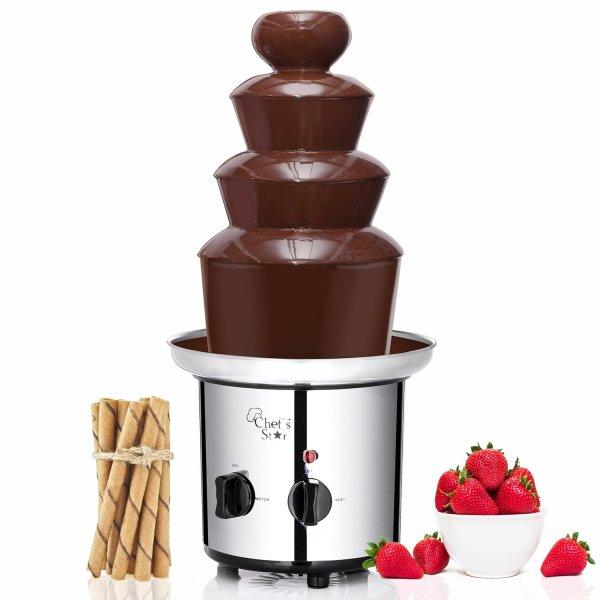 Fonte de Chocolate Aço Inoxidável 3-Tier Elétrica do Chef, Prata4