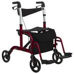 Vive Rollator Walker with Seat – Wheelchair Transport Chair