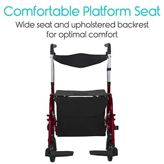Vive Rollator Walker with Seat – Wheelchair Transport Chair5