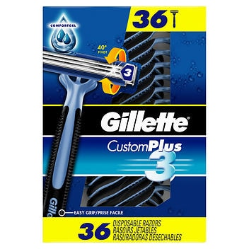 Lâminas descartáveis Gillette Custom Plus3- 36 unidades