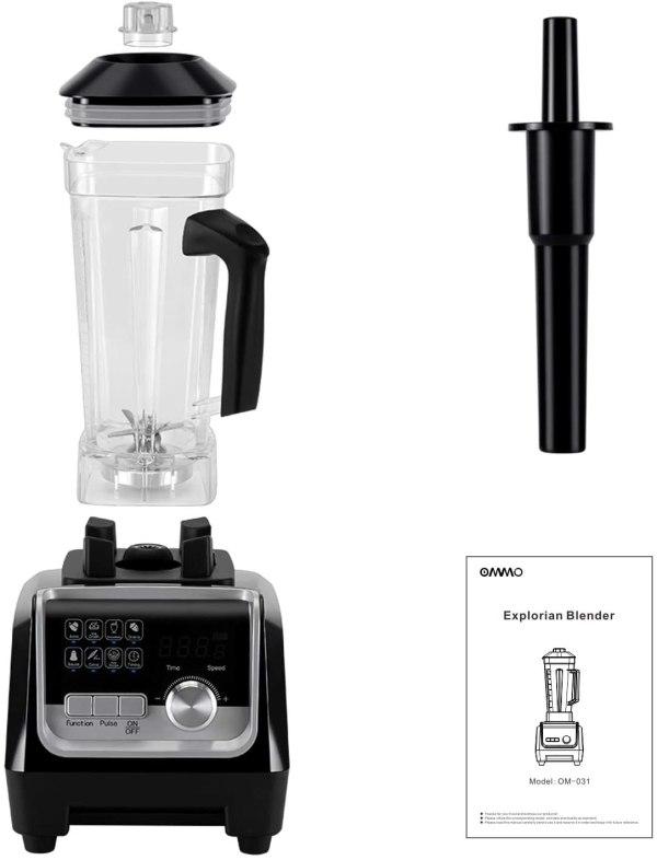 Liquidificador de Cozinha Profissional para Casa com Cronômetro Integrado OMMO 1800W.