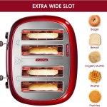 Torradeira retro de 4 fatias de aço inoxidável REDMOND com rosca para bagel 6 configurações de bronzeamento – RED.
