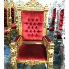 Patio Chair Feet Swivel Glider Rocking King Throne Red & Gold — Miami Prop Rental