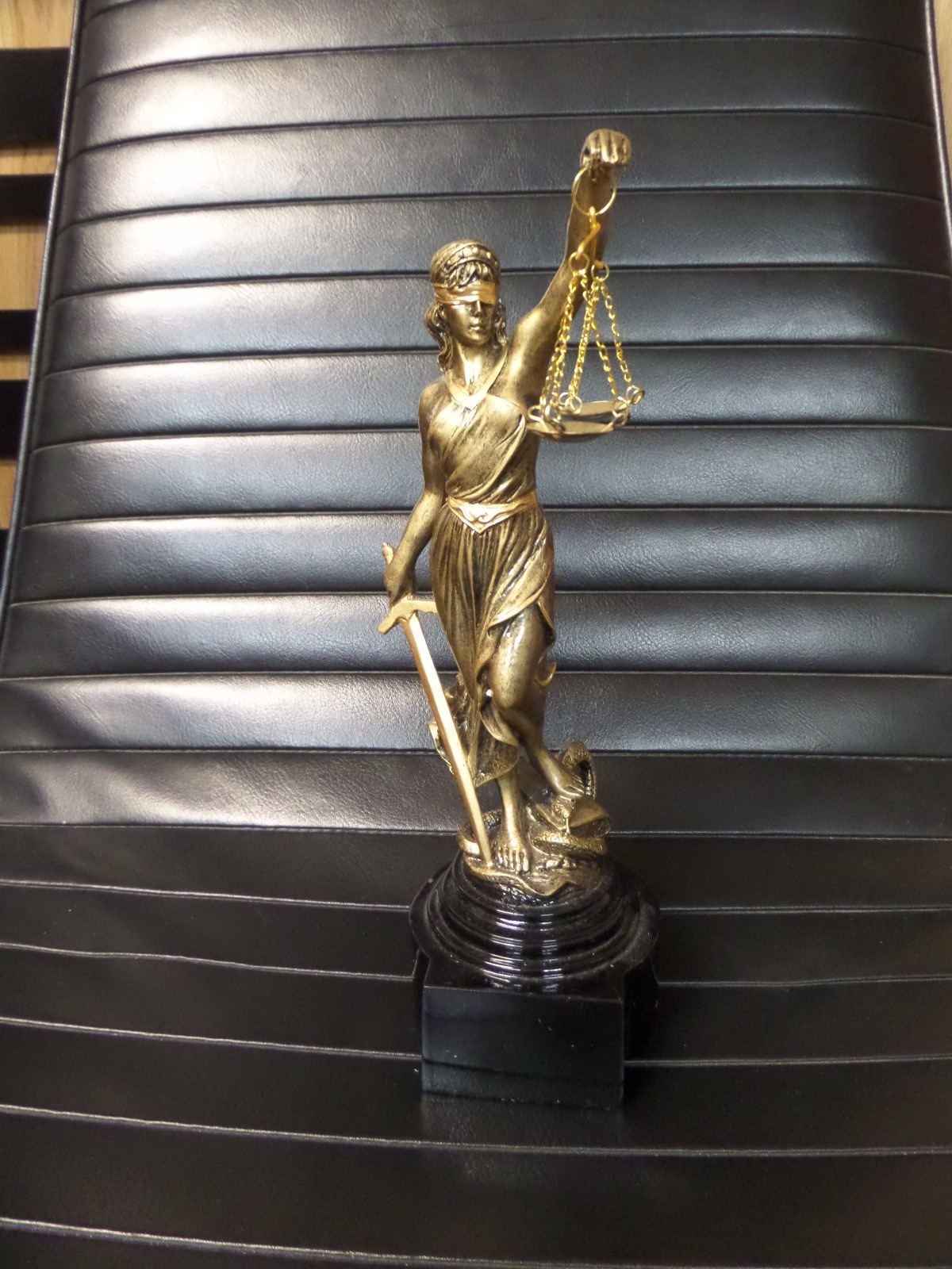 GOLD BLIND LADY JUSTICE WITH SCALES  Miami Prop Rental