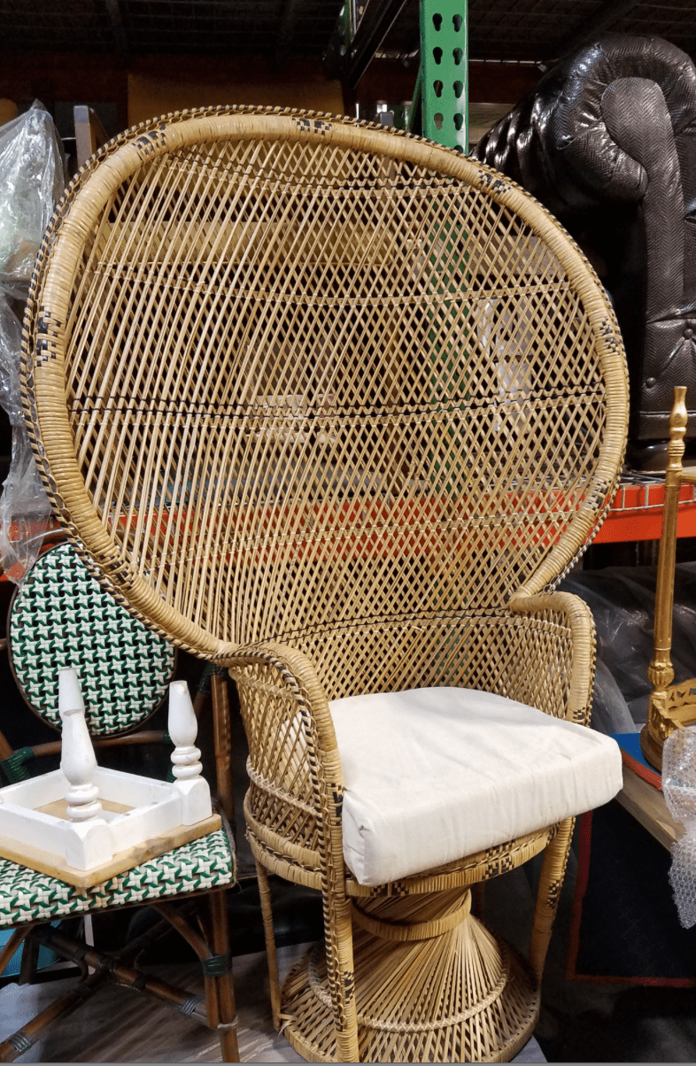RATTAN THRONE  PEACOCK CHAIR  Miami Prop Rental