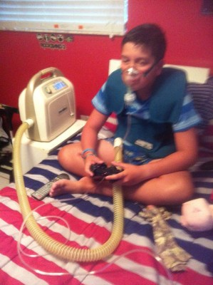 James using a breathing machine to help keep his condition under control.