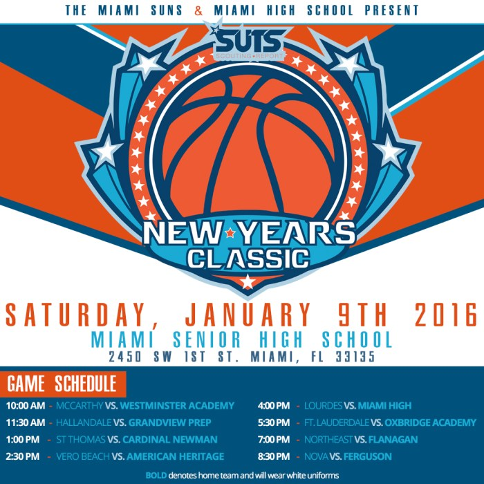 new years classic game flyer