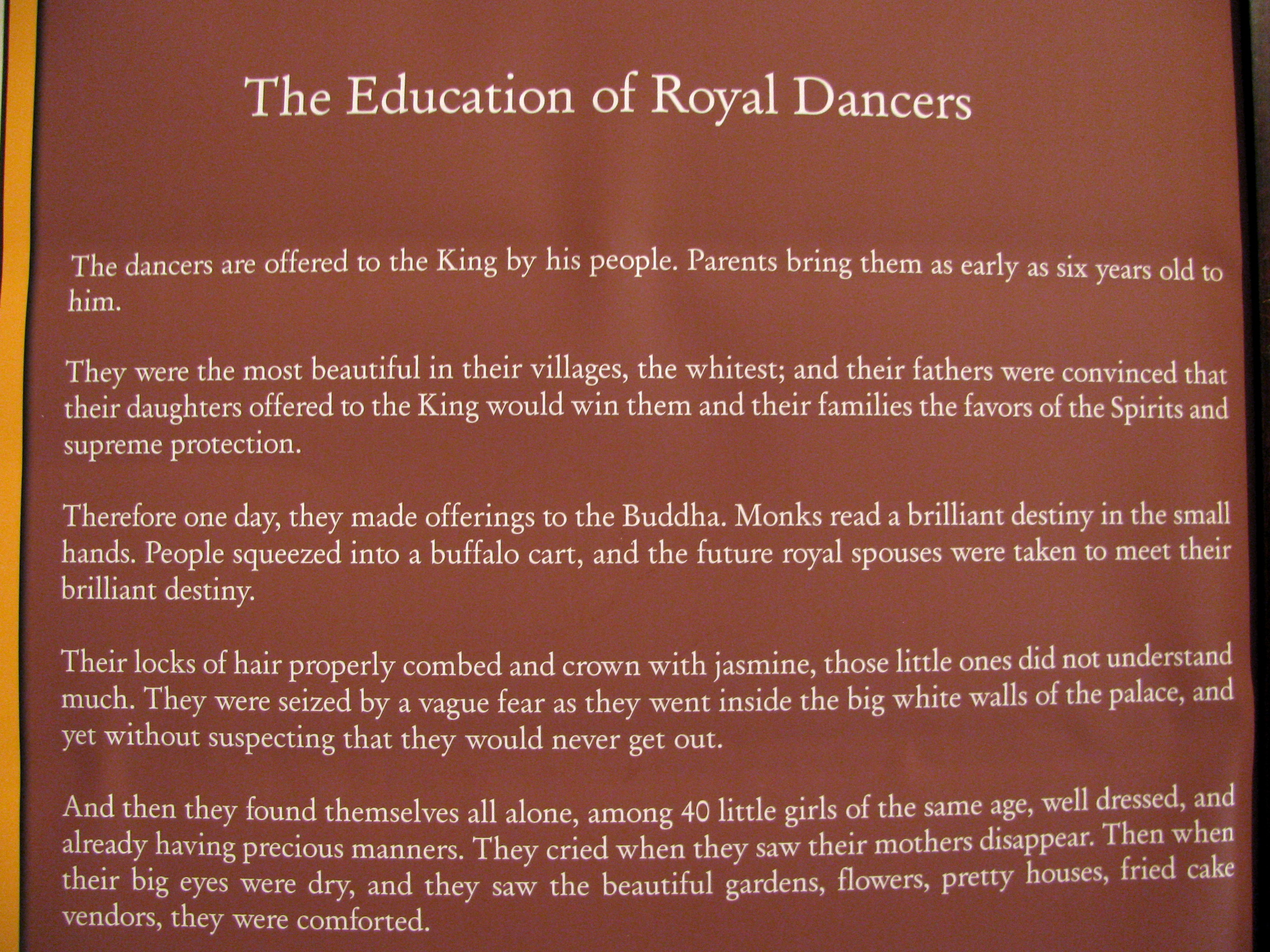 Sign from a photo exhibit on royal dancers, Le Meridien Angkor, Siem Reap, Cambodia