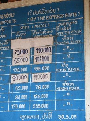 Boat Schedule, Luang Prabang, Laos