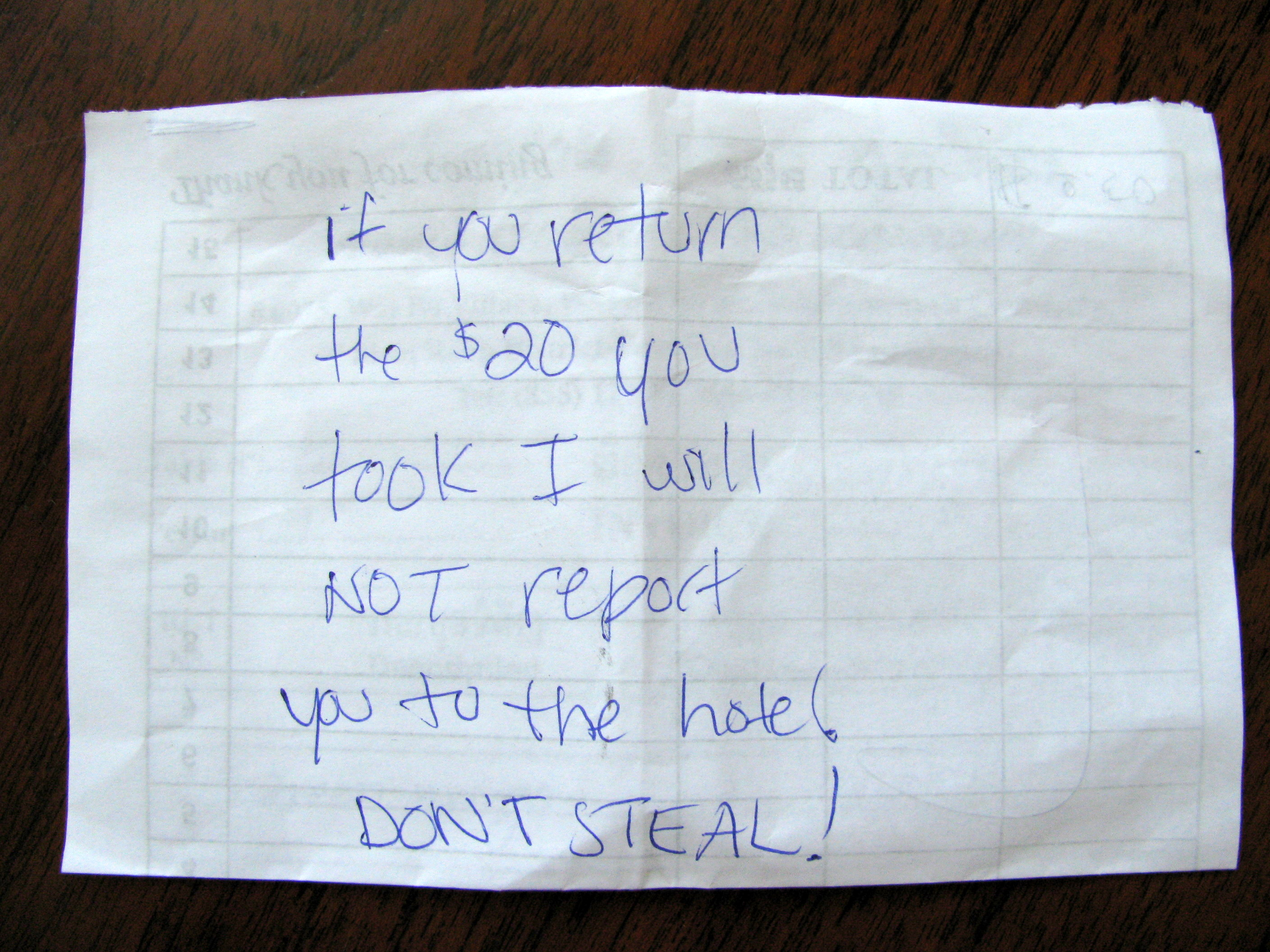 Note left in hotel room safe, Le Meridien Angkor, Siem Reap, Cambodia