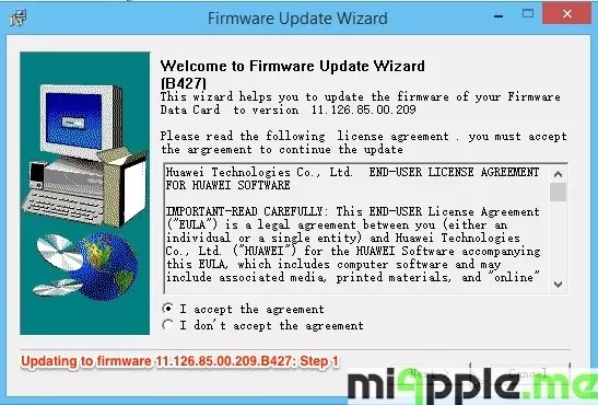 Huawei E173 U-1 - Updating to firmware 11.126.85.00.209.B427: Step 1