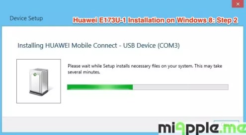 Huawei E173U-1 Installation on Windows 8: Step 2