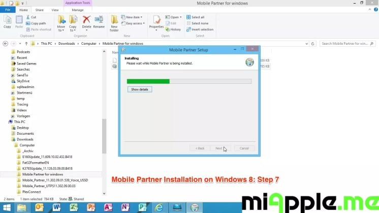 Mobile Partner Installation on Windows 8: Step 7