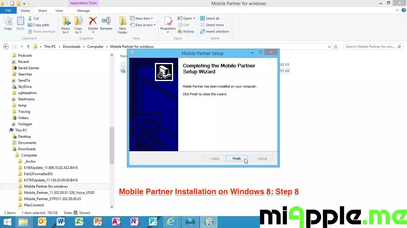 Mobile Partner Installation on Windows 8: Step 8 - Finished