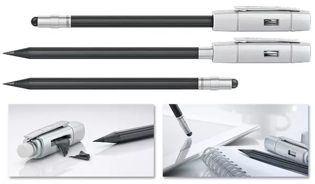 STAEDTLER 'The Pencil' Stylus: Pencil Extender, Eraser tip, Sharpener