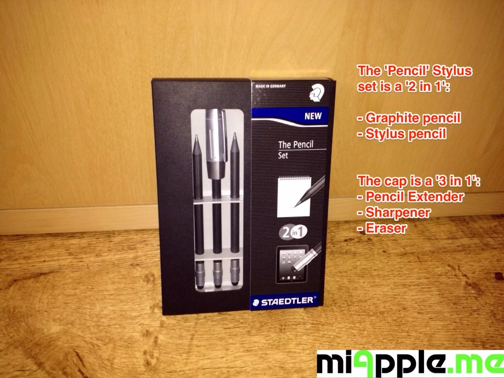 Unboxing STAEDTLER's 'The Pencil' Stylus made from WOPEX: The set contains 3 graphite stylus pencils and a '3 in 1' cap (pencil extender, sharpener, eraser tip)