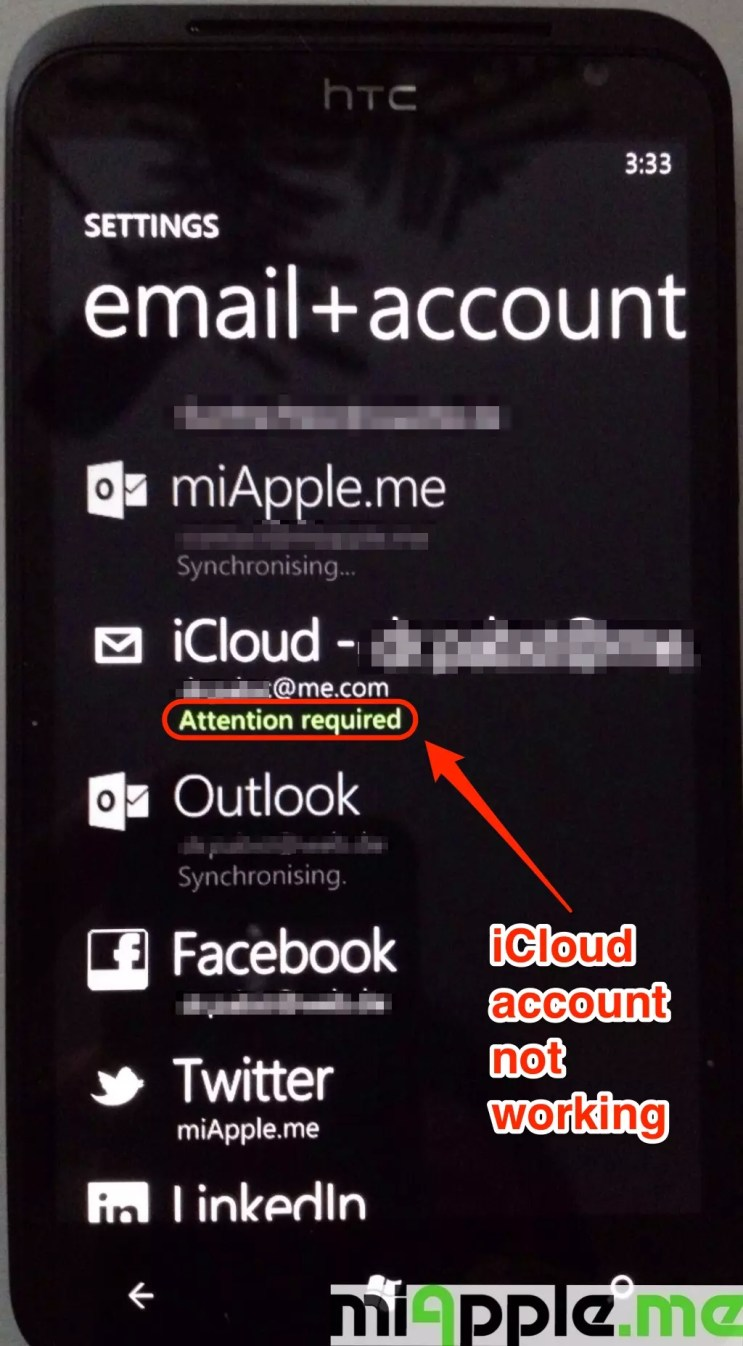 iCloud email set up on Windows Phone 7 and Windows Phone 8: If 'Attention is required' is displayed, delete iCloud email account and set it up again.
