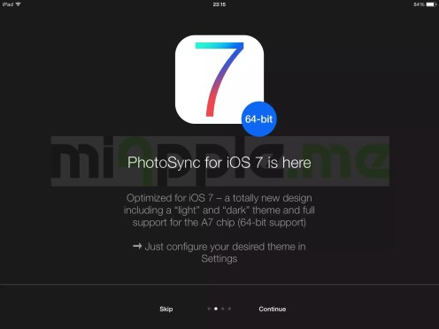 PhotoSync 2.1 features: iOS 7 optimized design and support of A7 chip (64-bit support)