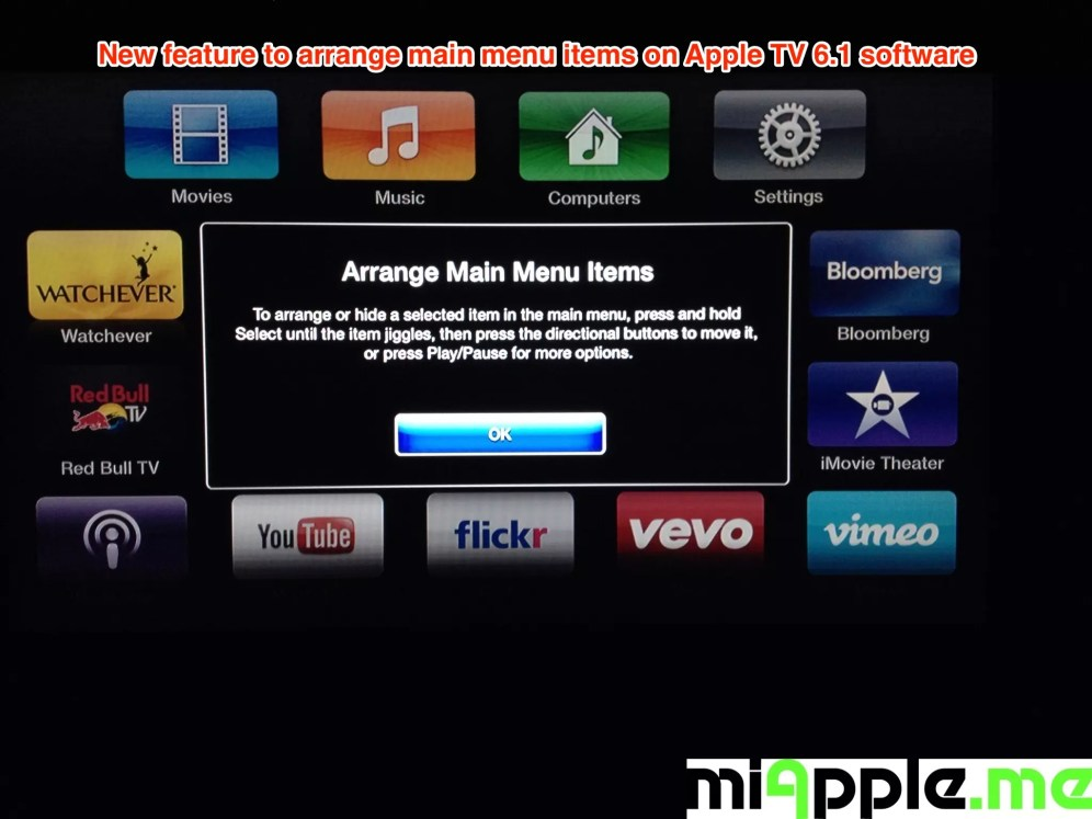 Apple TV 6.1 arrange main menu items release information
