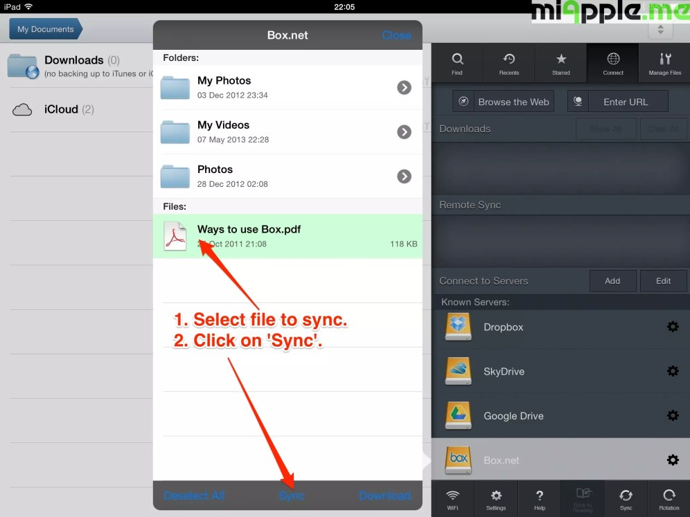GoodReader File Manager syncing: 1. Select file to sync. 2. Click on 'Sync'.