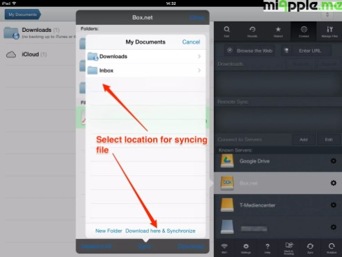 GoodReader File Manager syncing: Select location for syncing file.