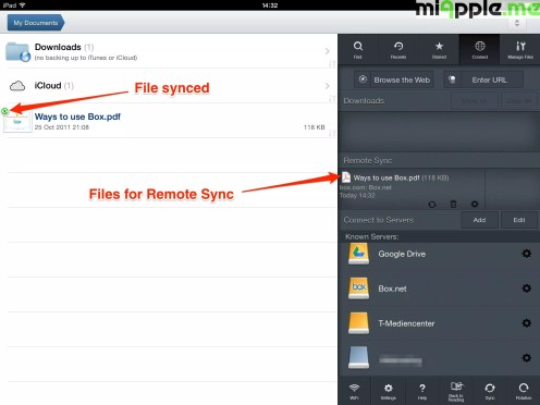 GoodReader File Manager syncing: File synced.