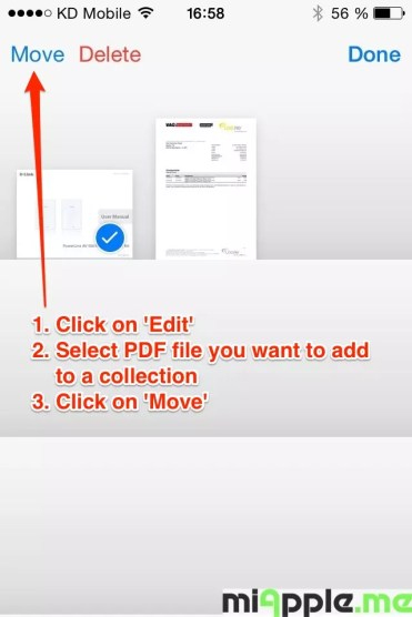 Click on 'Edit', select PDF file you want to add to a collection and click on 'Move'. (optional)