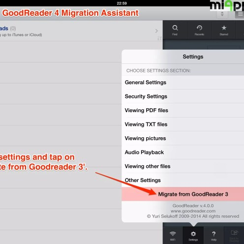 GoodReader 4 migration assistant step 1: Go to settings and tap on 'Migrate from Goodreader 3'.