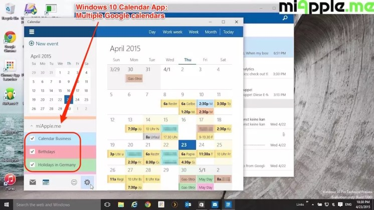 Windows 10 Calendar App_04_Multiple Google calendars