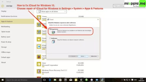 iCloud for Windows 10_02_repair in settings apps and features