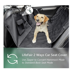 LIFEFAIR Dog Car Seat Cover, Dog Seat Cover with Mesh Window and Side Flaps