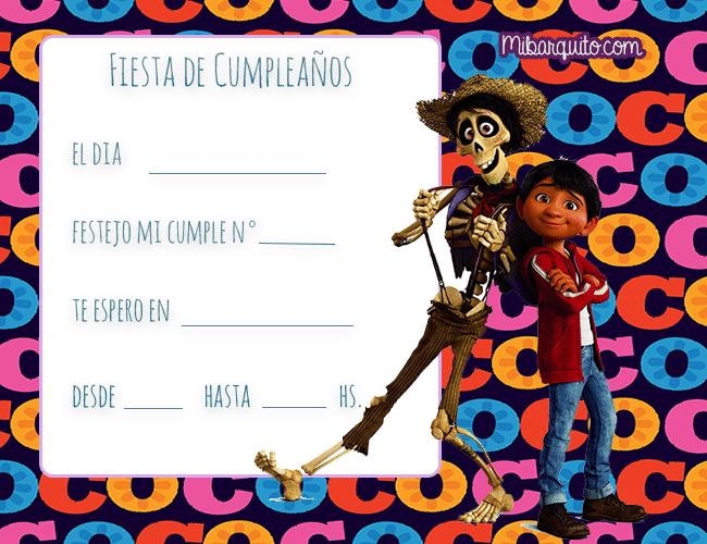 Coco Invitaciones De Cumpleanos Mi Barquito