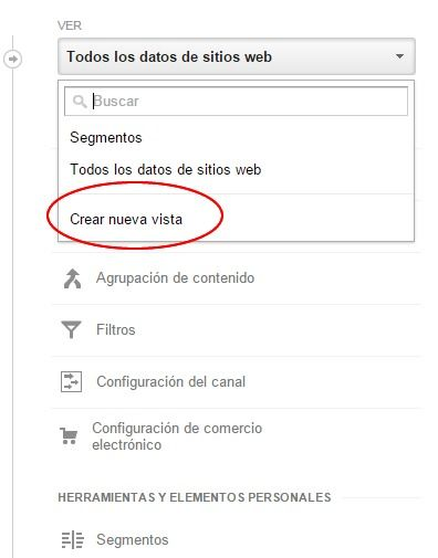 Crear nueva vista en Google Analytics